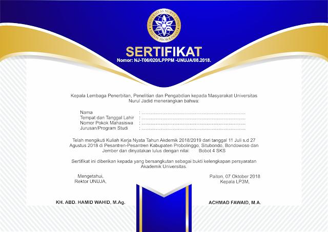 Sertifikat KKN Universitas Nurul Jadid