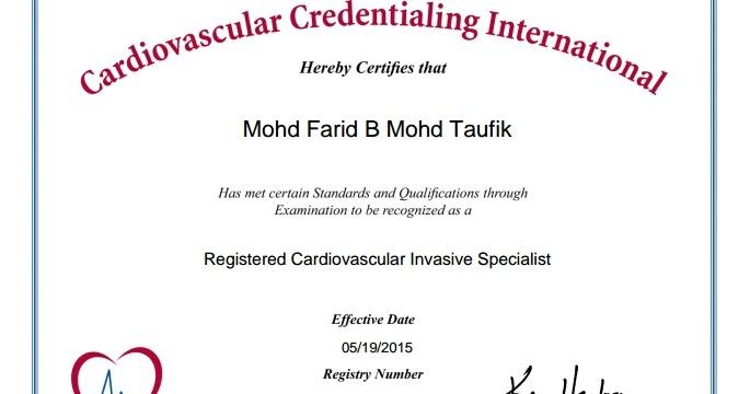 CVT Mohd Farid: Registered Cardiovascular Invasive Specialist (RCIS)