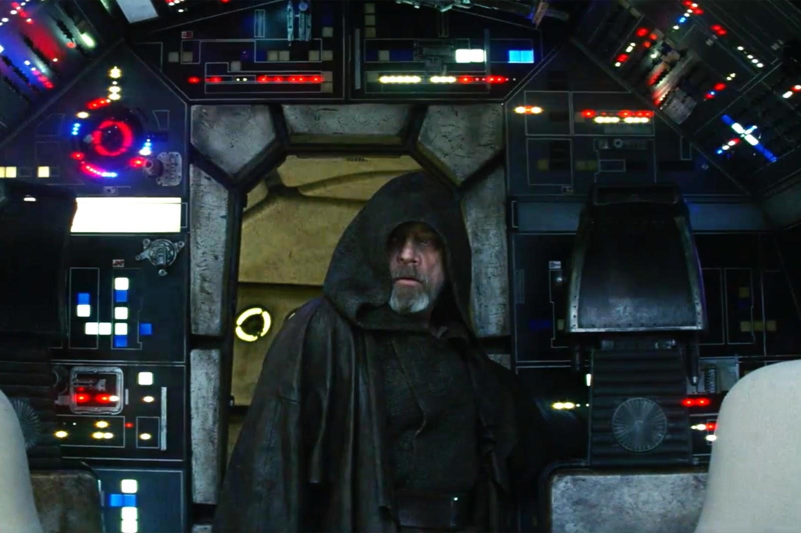 Luke Skywalker in the cockpit of the Millennium Falcon