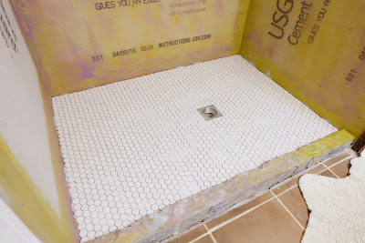 concrete shower floor tile mosaic hex penny white unglazed finished