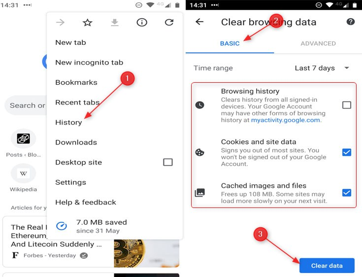 How to delete Google Chrome Android History