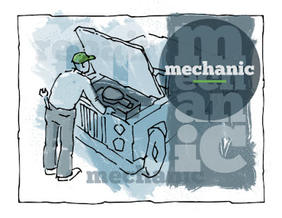 A mechanic looking at a car engine