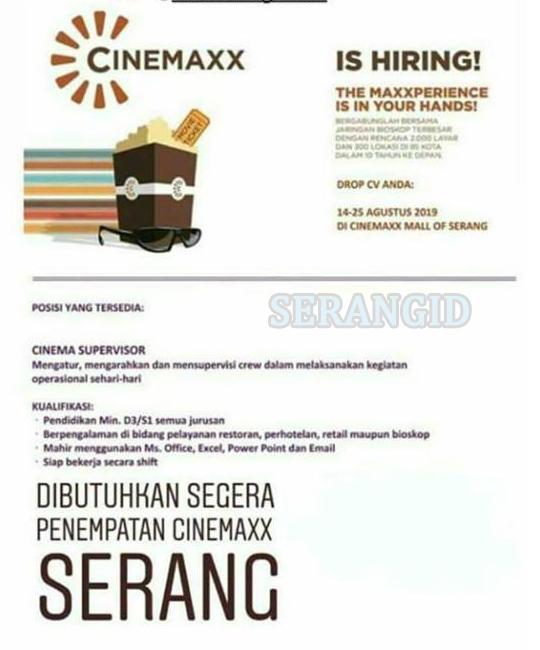 Lowongan Cinemaxx Mall Of Serang Serangid