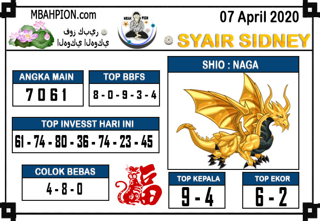 Syair Sidney Selasa 07 April 2020 - Syair Mbah Pion