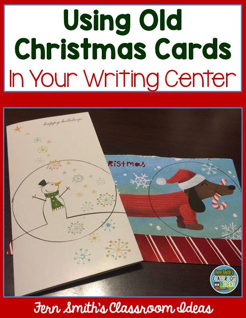 FREE High Interest Writing Centers Using Old Christmas Cards for your Classroom! Perfect for second grade, third grade, fourth grade and homeschool students. #FernSmithsClassroomIdeas