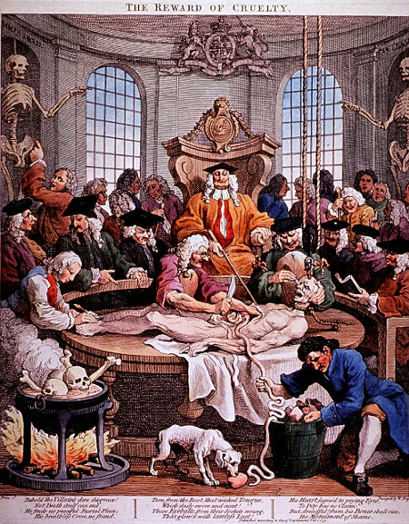 William Hogarth's 'The Reward of Cruelty' (1751) showing a fanciful version of the dissection of a hanged criminal. (Wellcome Images)