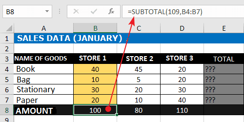 Sum Down Excel Formula With SUBTOTAL Function