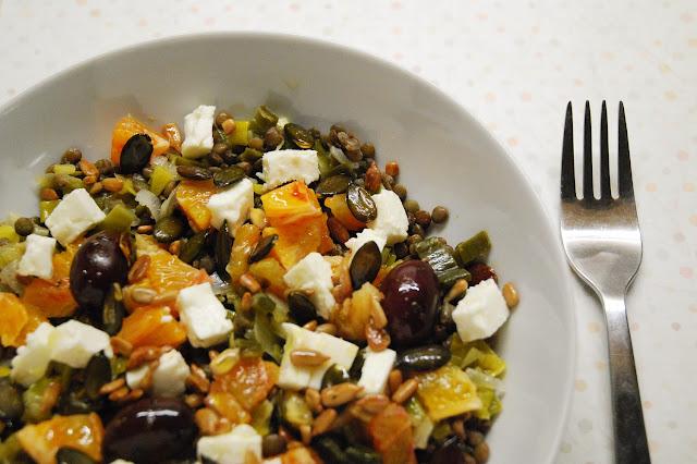Salade lentilles, poireaux, oranges, feta