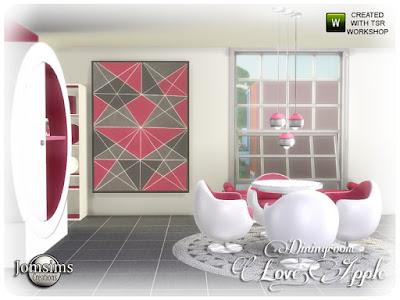 love apple Dining room столовая с яблоком для The Sims 4 Довольно новые линии и праздничные цвета для этой новой столовой. 4 оттенка и цвета. круглый обеденный стол. Полу яблоко обеденный стул. потолочный светильник. торшер. коврики. диван. рамка деко. 2 мебели счастливого симминга! Автор: jomsims