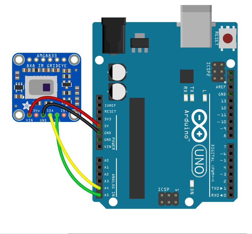 schematics AMG8833 Arduino Processing Kode dan Skematik Non-Interpolation