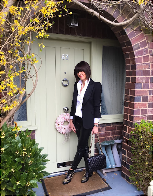 My Midlife Fashion, Zara tuxedo jacket, j crew thomas mason tuxedo shirt, french connection faux leather cropped trousers, chanel handbag, marks and spencer pearls, chloe studded boots