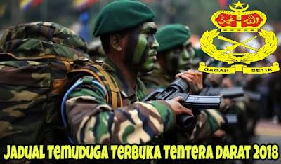 Jadual Temuduga Terbuka Tentera Darat 2018