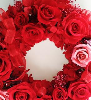 還暦お祝いリース/赤バラとスワロフスキー