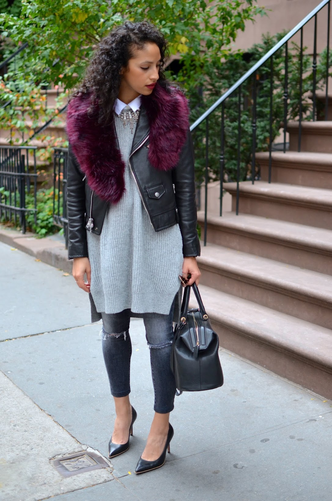 j brand grey distressed denim, Coach Tamara pump, Coach moto jacket, plum lipstick, curly hair, nyc fall style, Fall style, Faux fur stole, Missguided fur stole, what to wear in NYC this fall, all grey style, chic fall style
