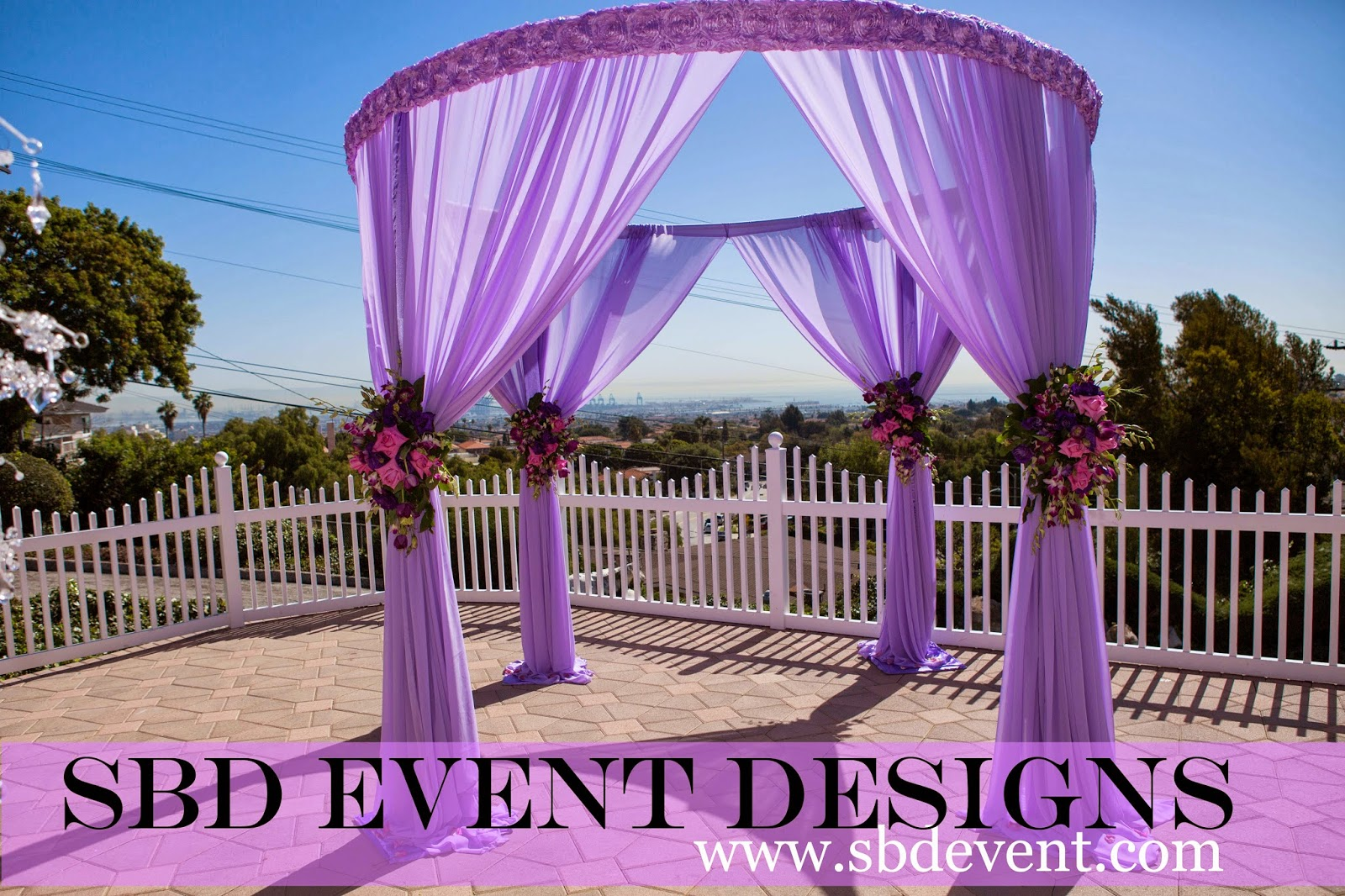 4 Post Round Canopyu0027 comes in different colors and height. We will customize it with Rhinestone Bands or fresh Flowers we will add a chandelier if needed. & SBD Events - The Event Specialist: LA Harbor Lodge Weddings - SBD ...