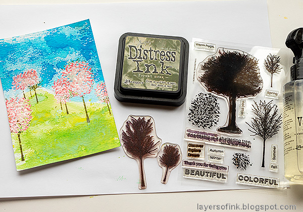 Layers of ink - Cherry Blossom Tree Tutorial by Anna-Karin Evaldsson. With Simon Says Stamp All Seasons Tree stamp set.