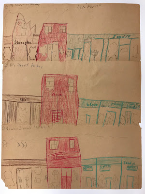 Three part crayon drawing by an elementary student depicting what the student's block looked like before, and after the riots broke out across Washington D.C., and what the students thought their neighborhood would look like in the future. In the future, the street looks largely the same, save for all the stores are brimming with goods.