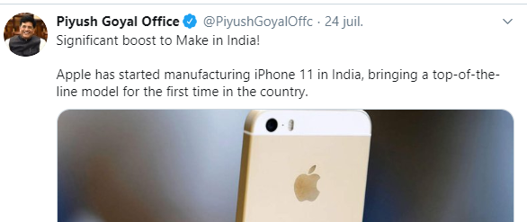 Apple launches iPhone 11 assembly in India