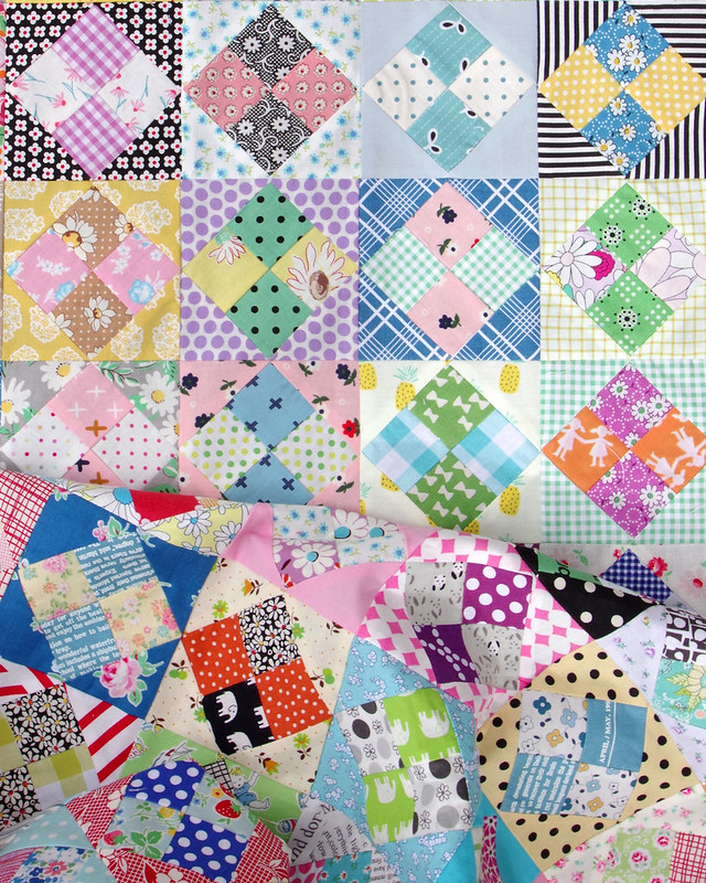 Four Patch in a Square Scrap Quilt © Red Pepper Quilts 2020