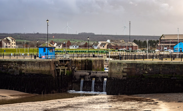 Photo of Maryport Marina gate from the basin at low tide