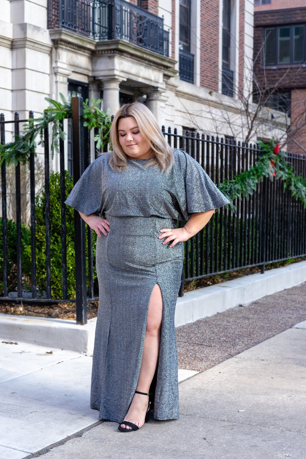 Chicago Plus Size Petite Fashion Blogger and model Natalie Craig styles plus size clothing brand Marée Pour Toi's holiday Doleman Shimmer Dress, debuted at CurvyCon