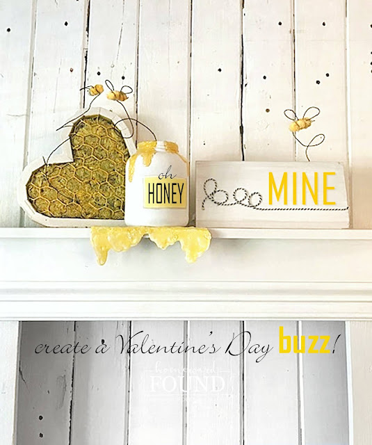 crafting,DIY,diy decorating,painting,re-purposing,junk makeover,color,colorful home,Pantone color of the year,Valentine's Day,winter,garden art,Illuminating Yellow,Ultimate Gray,yellow and gray decor,gray and yellow palette,home decor, winter home decor, Valentines Day home decor,Valentines Day mantel decor,BEE mine Valentine,bee theme Valentines Day decor, Valentine heart decor.