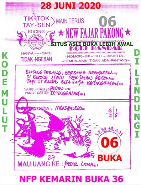 Prediksi New Fajar Pakong Minggu 28 Juni 2020