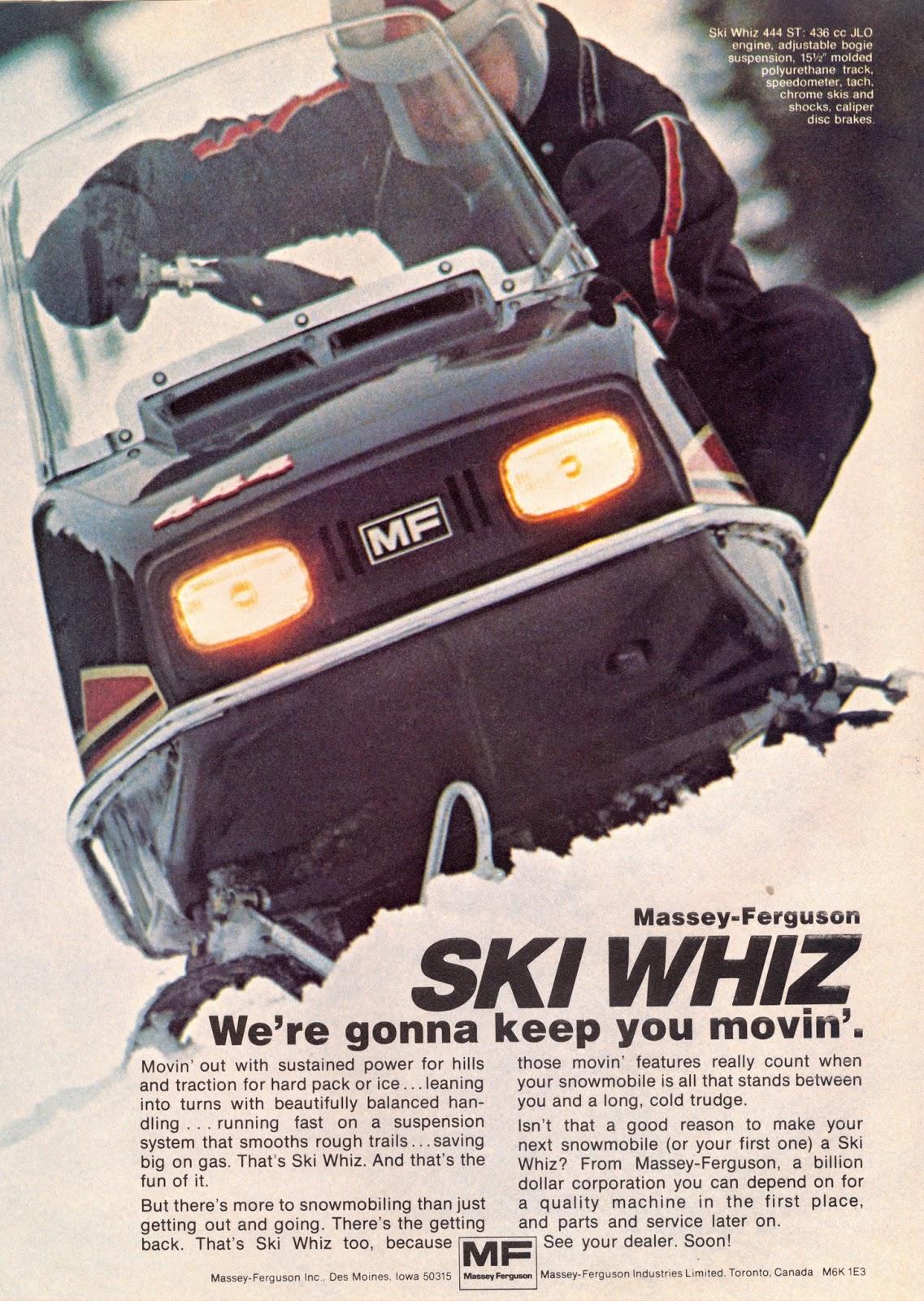 Ski whiz snowmobiles for sale - 1975 Massey Ferguson Ski Whiz Ad