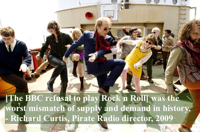 Promotional photo movie Pirate Radio the Ship that Rocked. Dancing on the ship deck. The worst mismatch of supply and demand in history. 2009. Pirate Radio and Sealand and Other stories of Rock, Radio, and Regulations. Marchmatron.com