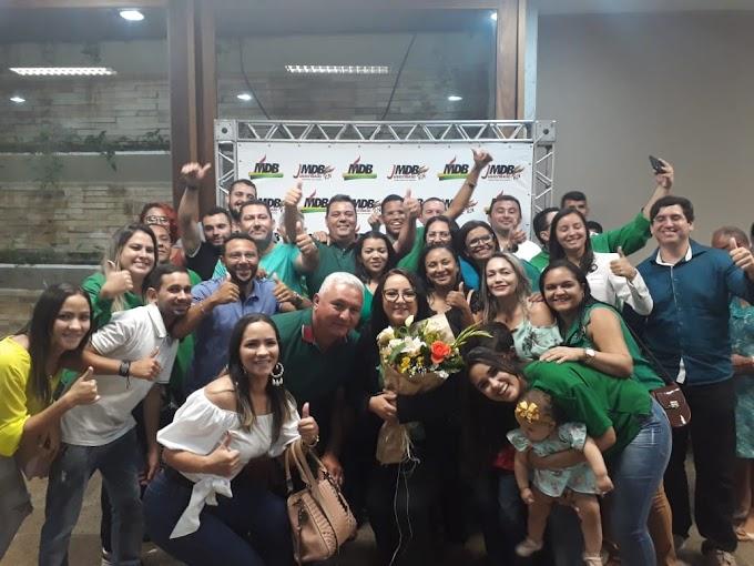 Prefeita Sandra é acolhida no MDB e passa a liderar o partido em Fernando Pedroza