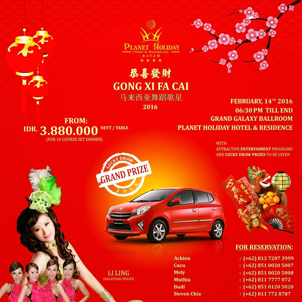 "GONG XI FA CAI 2016 "" Planet Holiday Hotel & Residence"