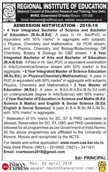 Regional Institute of Education (RIE) Admission 2018-19 Notification for B.A. B. Ed., M.Sc.Ed., M.Ed., B.Ed.,Courses