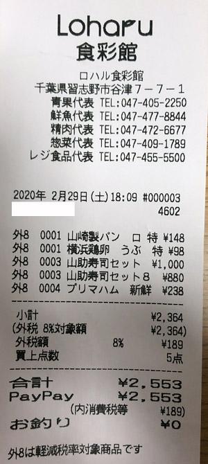 Loharu津田沼 ロハル 食彩館 2020/2/29 のレシート