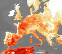 Land surface temperatures during a heat wave in Europe on July 25. (Credit: Copernicus Sentinel Data/ESA) Click to Enlarge.
