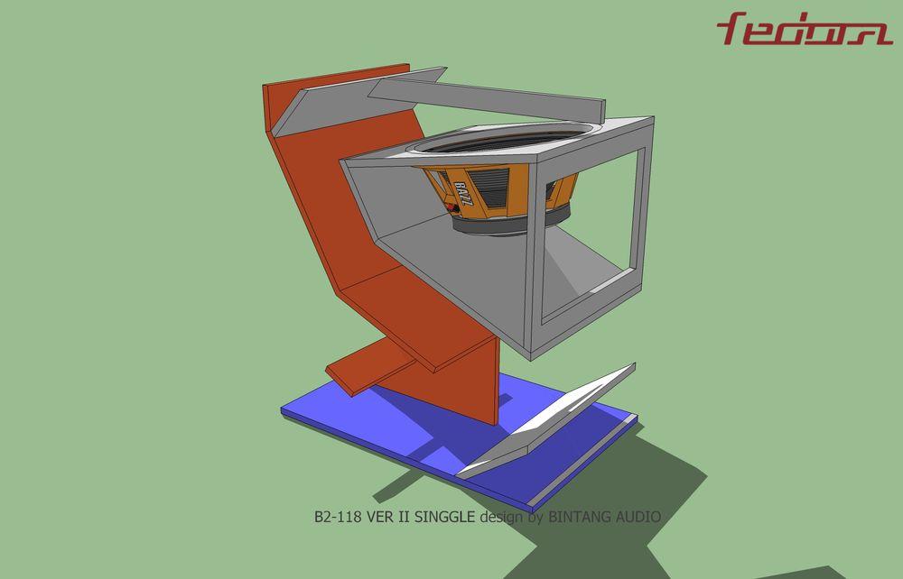 Skema dalam Folded Horn Speaker bagian belakang