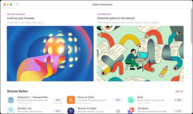 ملحقات Safari في App Store مميزة