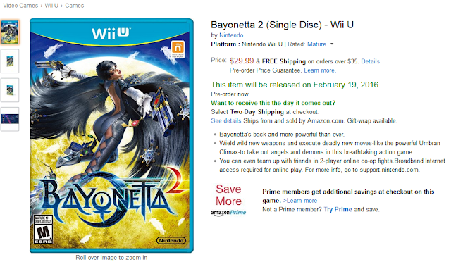 Bayonetta 2 single disc Wii U Amazon February 19