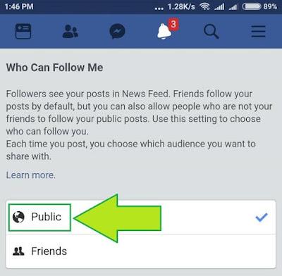 Cara Set followers fb ke publik dari chrome 4