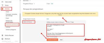 Cara Setting Robots.txt di Blogger