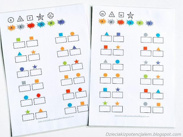 na zdjęciu dwie zalaminowane kartki a4, na górze stron narysowane są różne kształty a w nich odpowiednie spółgłoski, pod nimi samogłoski na różnokolorowym tle, resztę strony zajmują prostokąty do wpisywania wyrazów a nad każdym z nich symbol który trzeba rozszyfrować