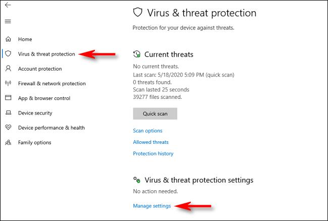 انقر فوق إدارة الإعدادات في أمان Windows على Windows 10