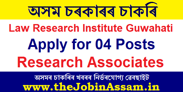 Law Research Institute Guwahati Recruitment 2020