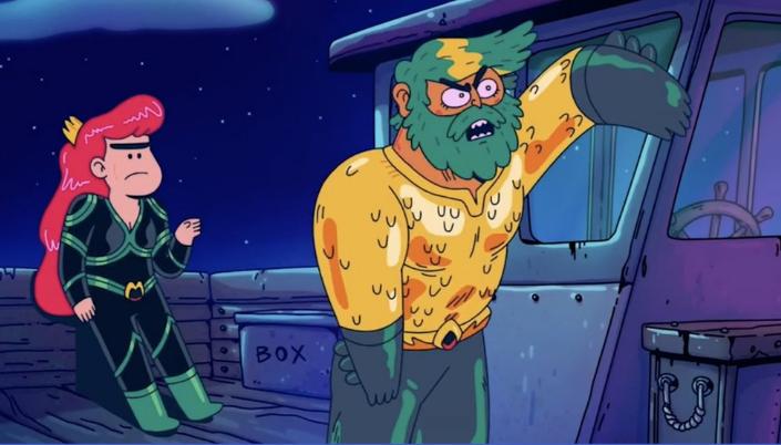 Imagem: cena de Aquaman: King of Atlantis em que Mera, claramente chateada, com suas sombrancelhas e olhos reduzidos, está falando com Arthur, em seu uniforme de Aquaman, com parte de cima laranja e feita de escamas, calças verdes e grunhindo para os céu noturno. Os dois estão em algum tipo de barco velho.