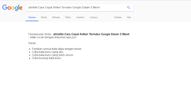 allintitle cara cepat artikel terindex google dalam 5 menit