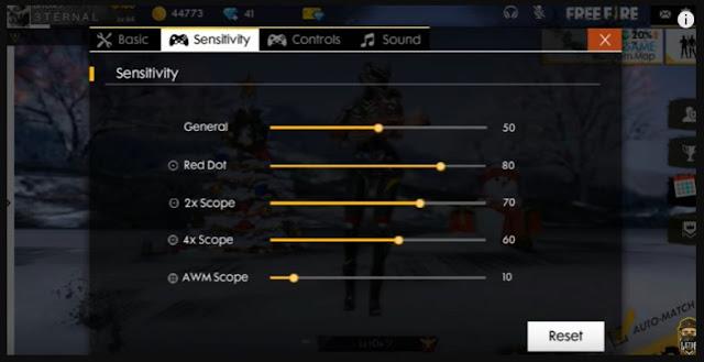 Pengaturan Sensitivitas Pada Game Fre Fire