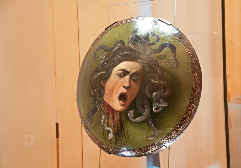 peinture sur bouclier vu à la galerie des offices de Firenze