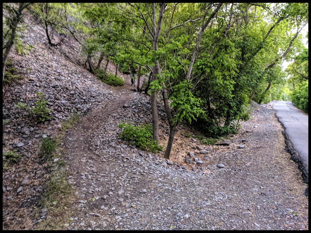 Where the Bonneville Shoreline Trail branches off from the Provo River Parkway trail for bikes.