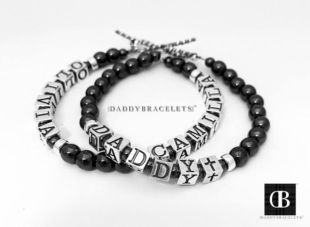 Daddy Bracelets & Olivia and Camilla Bracelets with a Cross Bead - Hematite Beads