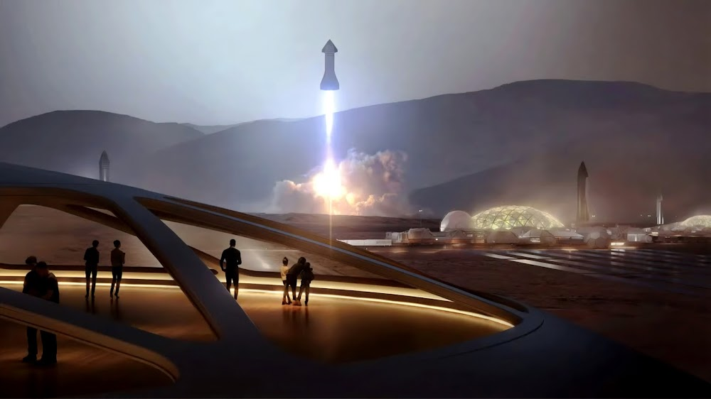 SpaceX Starship launching from Mars Base Alpha
