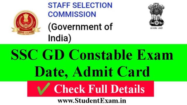 Exam Date Of SSC GD 2021